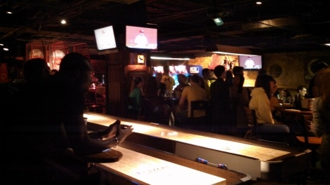 Shuffleboard and TVs at Buffalo Billiards