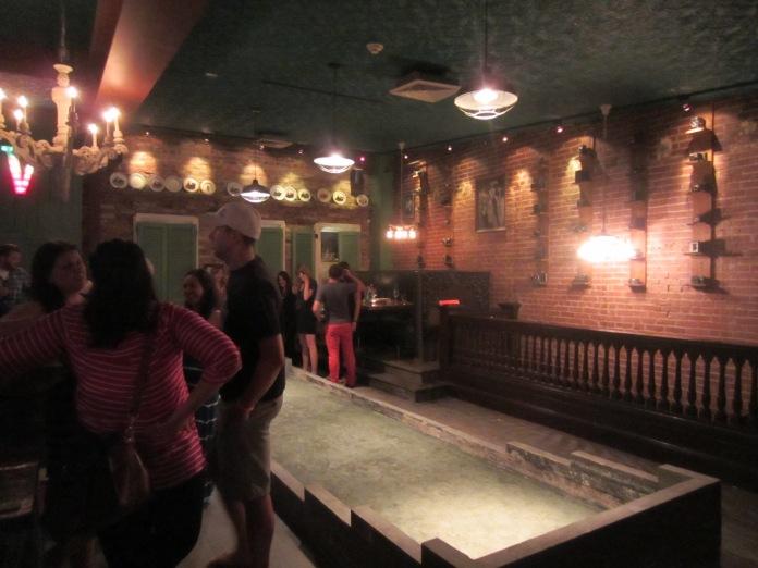 Upstairs bocce court