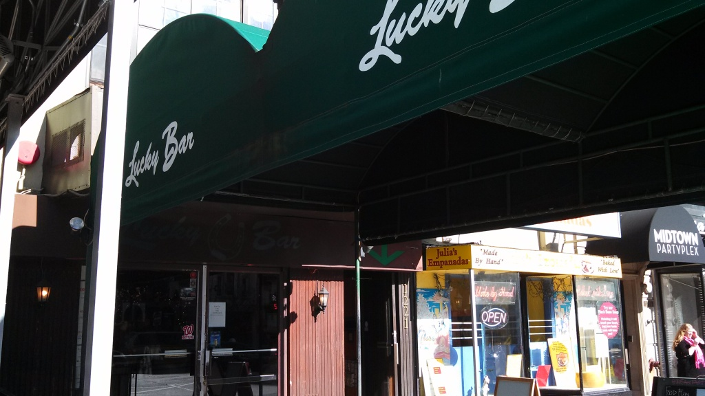 Awning in front of Lucky Bar