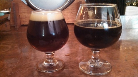 Two of the beers sampled
