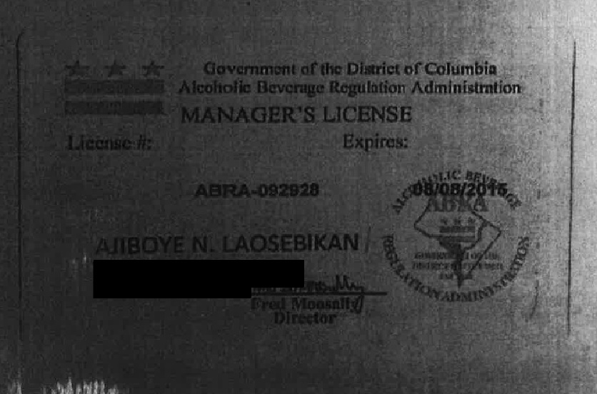 Apparently not a real ABRA Manager's license