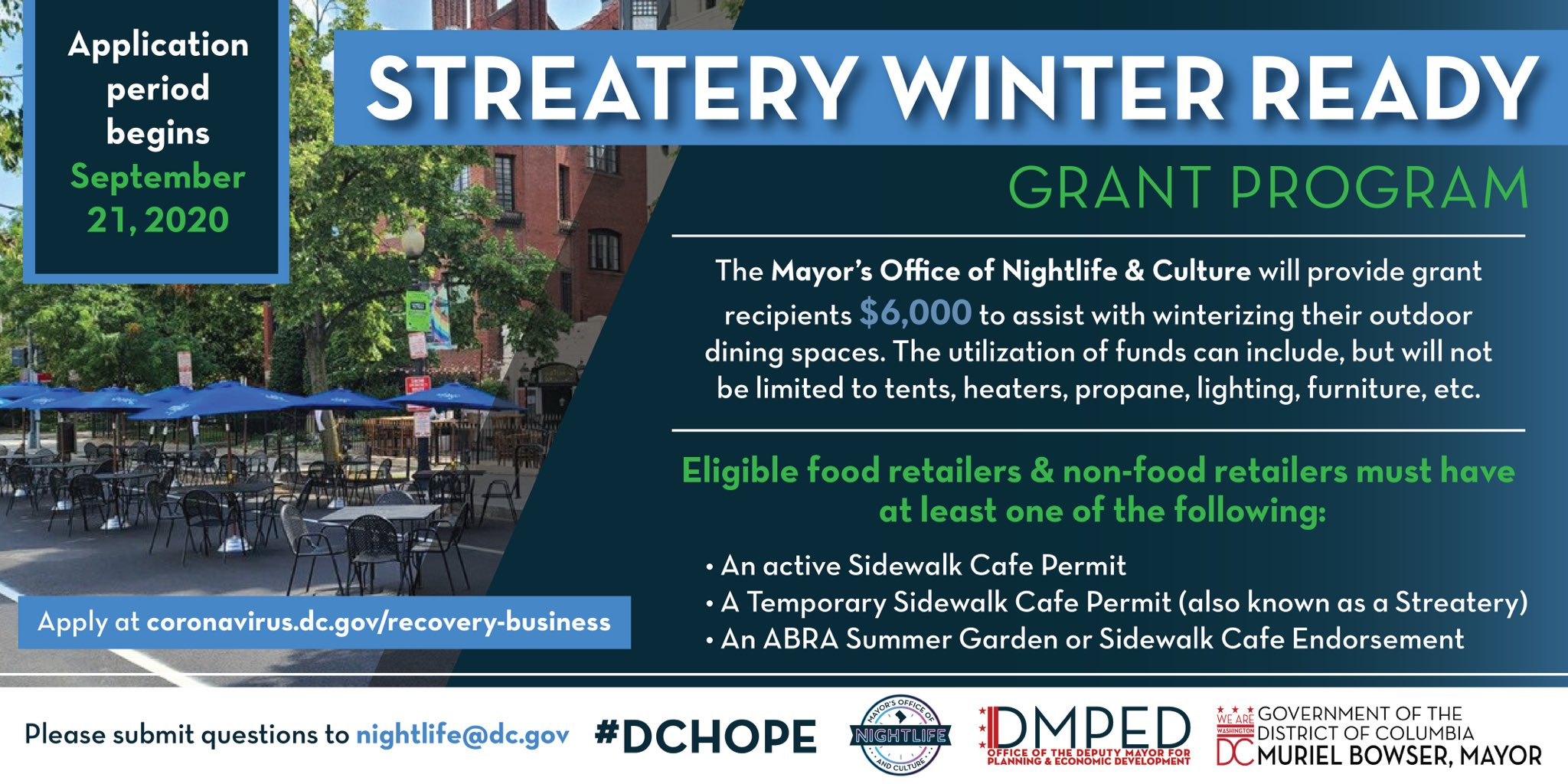 Food Place Open Christmas 2020 Dc DC to Award $6,000 Grants to DC Restaurants/Bars to Winterize